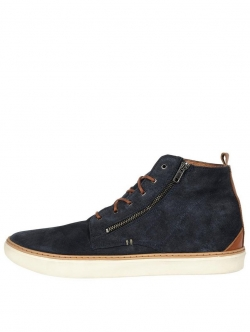 River Island Suede Zip Detail Hi Top Trainer Boots