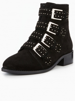 Casual Studded Ankle Boot Black