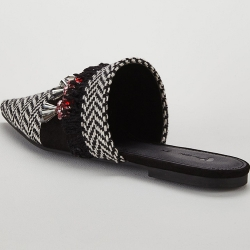 Essaouria Woven Jeweled Point Flat Mule - Black/White