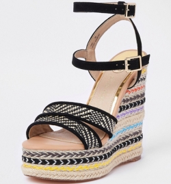 River Island-Black Stripe Platform Wedge