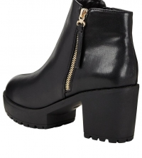 Buxton Chunky Platform Boot With Gold Zip