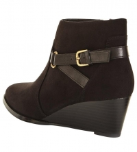 Cottage Low Wedge Strappy Detail Ankle Boot