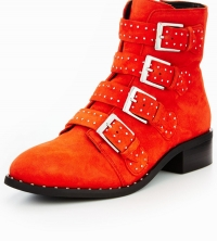 Casual Studded Ankle Boot Red